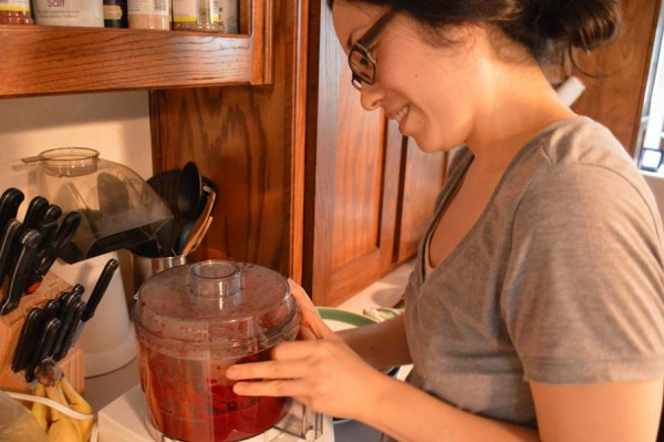 Megan making beet cake.