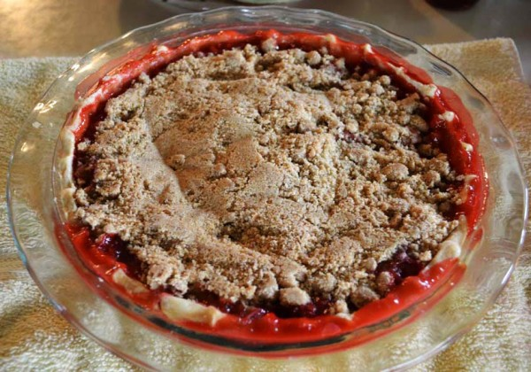 Slynn's Strawberry Rhubarb Crumb Pie.
