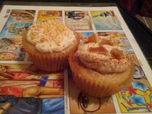 Going global? Toasted coconut on the left, cinnamon and ginger on the right.