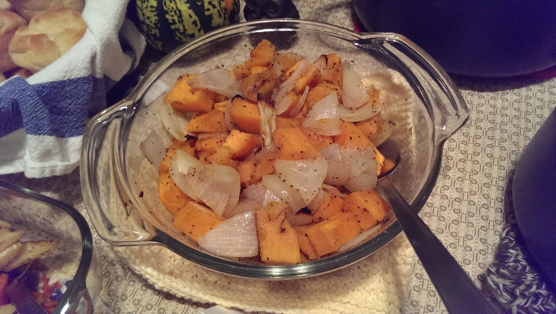 roasted sweet potatoes and onions