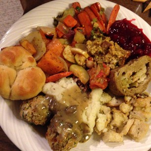 vegan Thanksgiving food plate