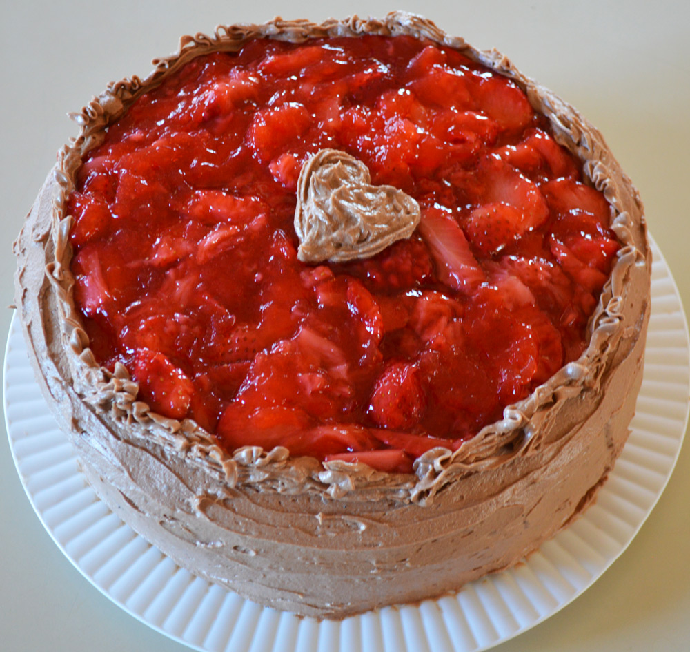 strawberry compote chocolate cake