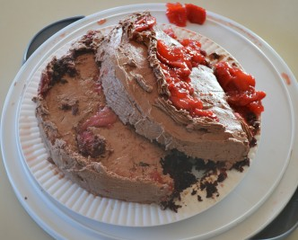 strawberry compote chocolate cake broken