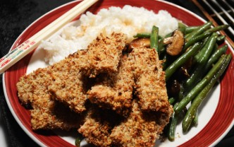 orange pecan crusted tofu dinner