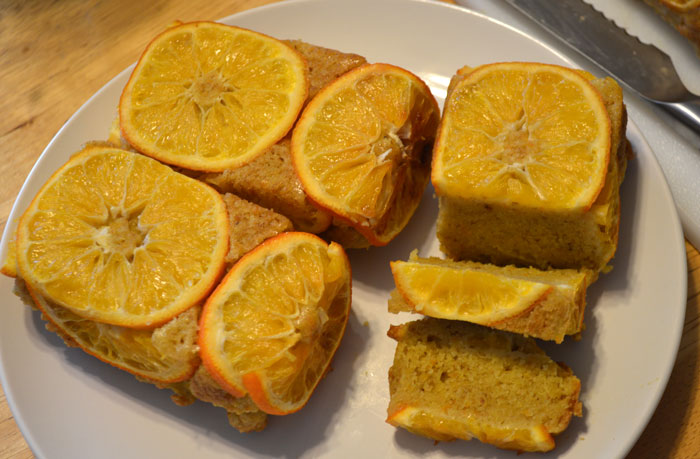 orange slice covered loaf cake