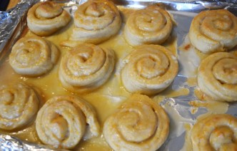 orange rolls on tray