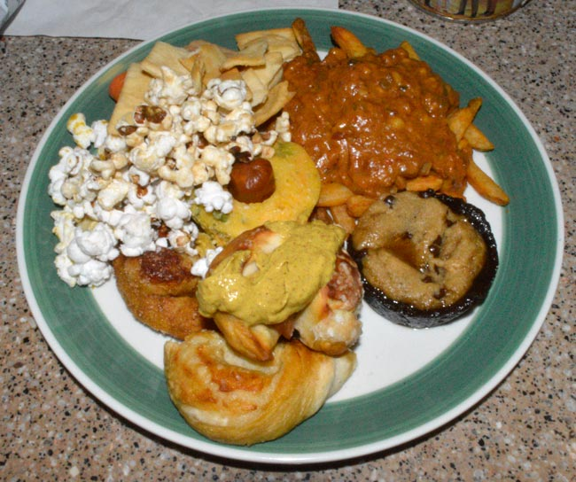 plate of ballpark foods