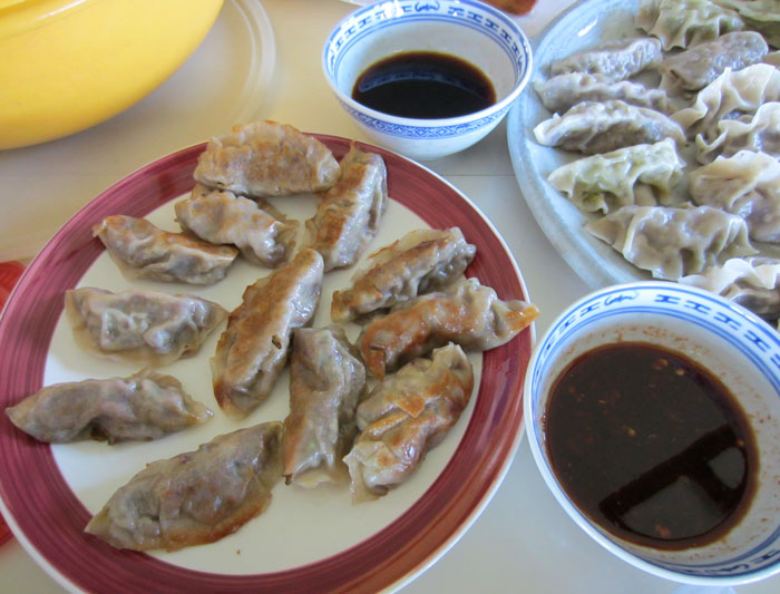 Field Roast and mustard  greens dumplings