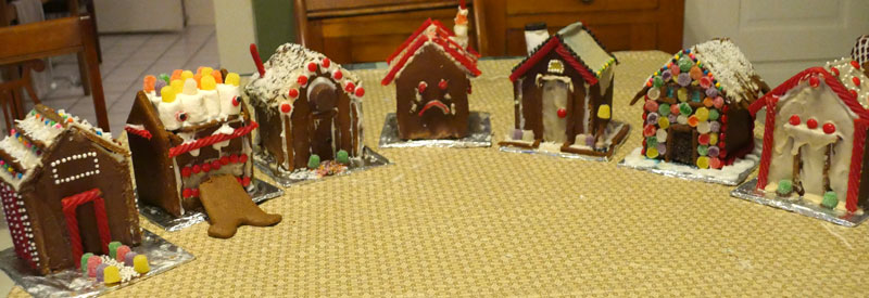 group of gingerbread houses