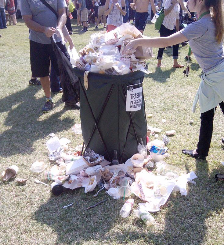overflowing garbage at Texas Veggie Fair