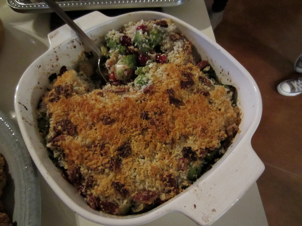 brussels with cranberry and leeks