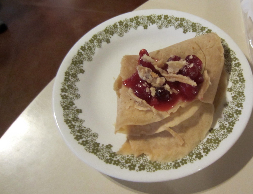 cranberry chutney on crepe