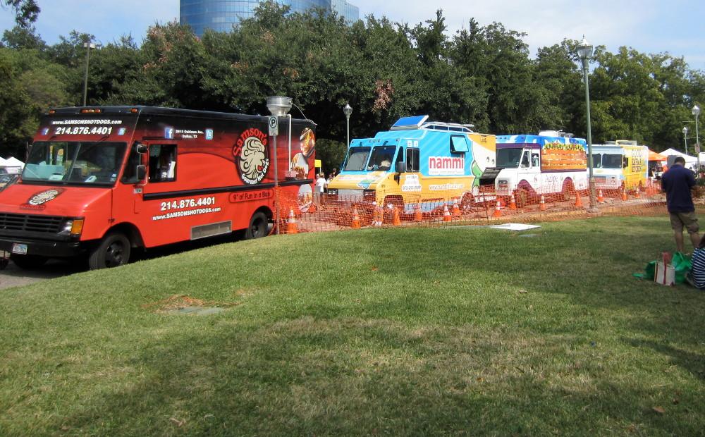 line of food trucks