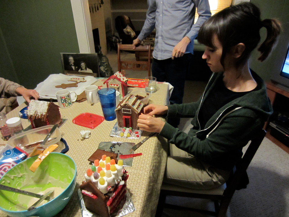 Taylor gingerbread house building