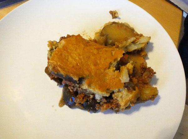 plate of vegan moussaka