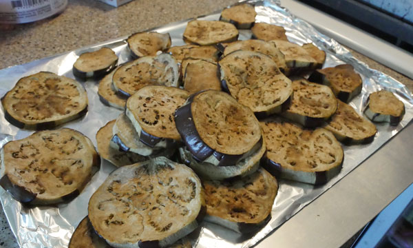 pile of eggplants after baking