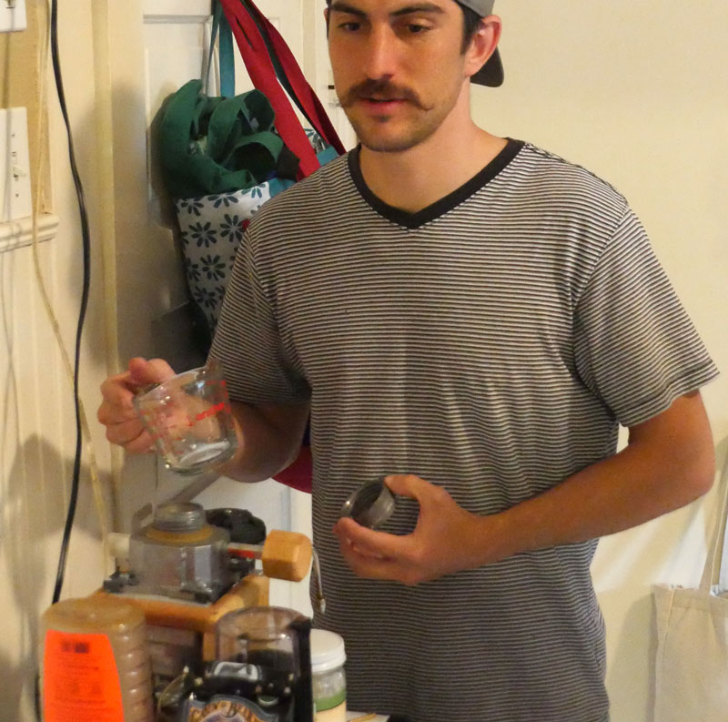 Dylan brewing coffee