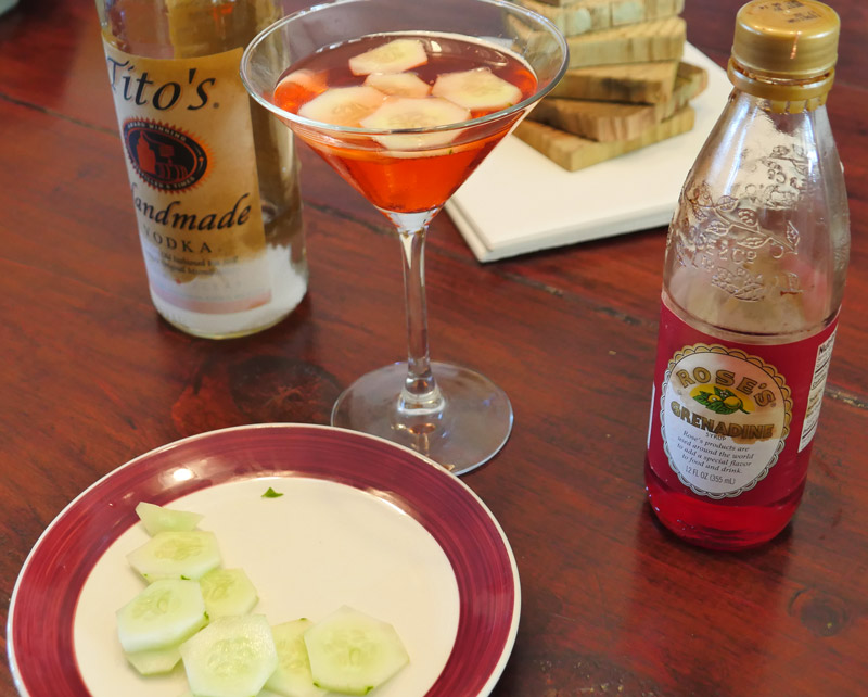 cucumber grenadine cocktail