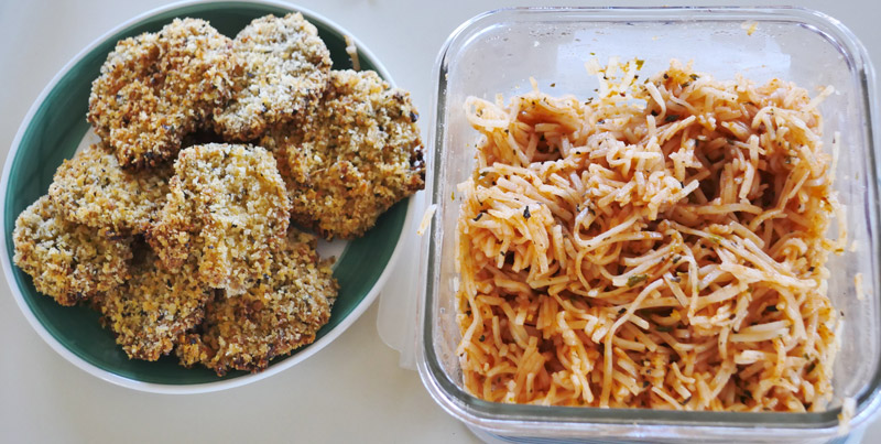 rice noodle and panko tofu