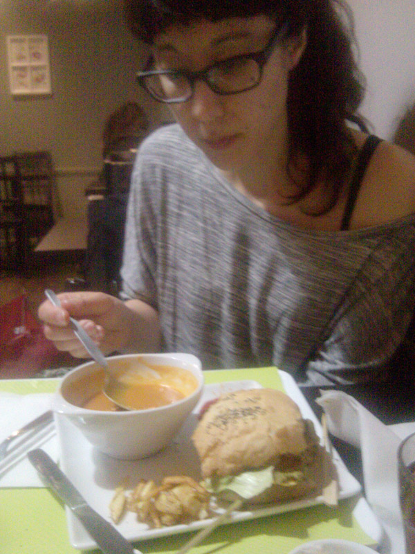 VG vegan burger and soup