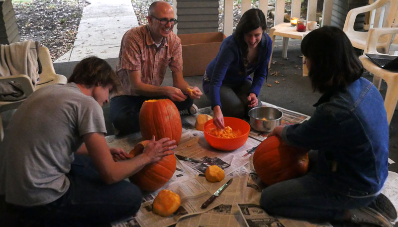 making jack o'lanterns