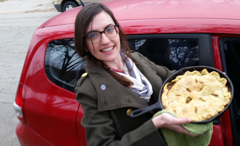 Michelle with cast iron pie