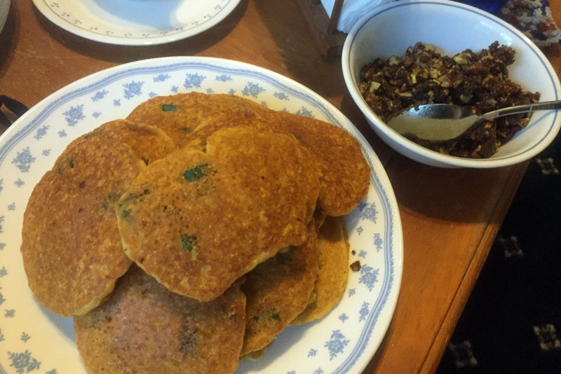 vegan Johnnycakes and curried pecans