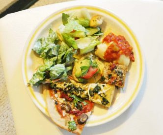 vegan pizza buffet plate
