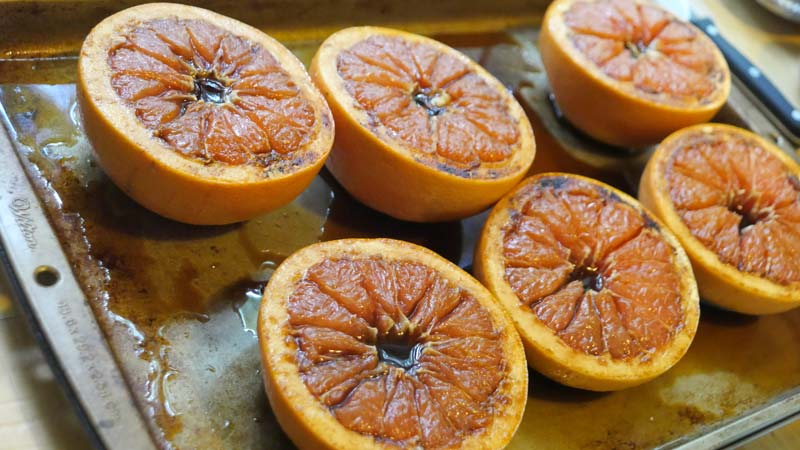 baked grapefruits with brown sugar
