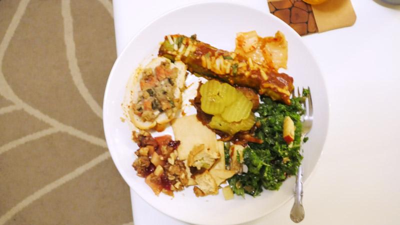 plate of vegan food December 2016