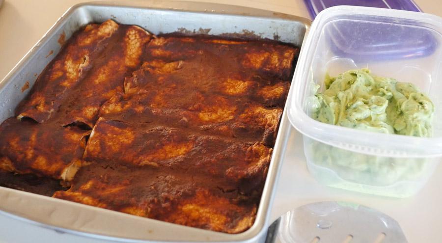 vegan enchiladas with mole