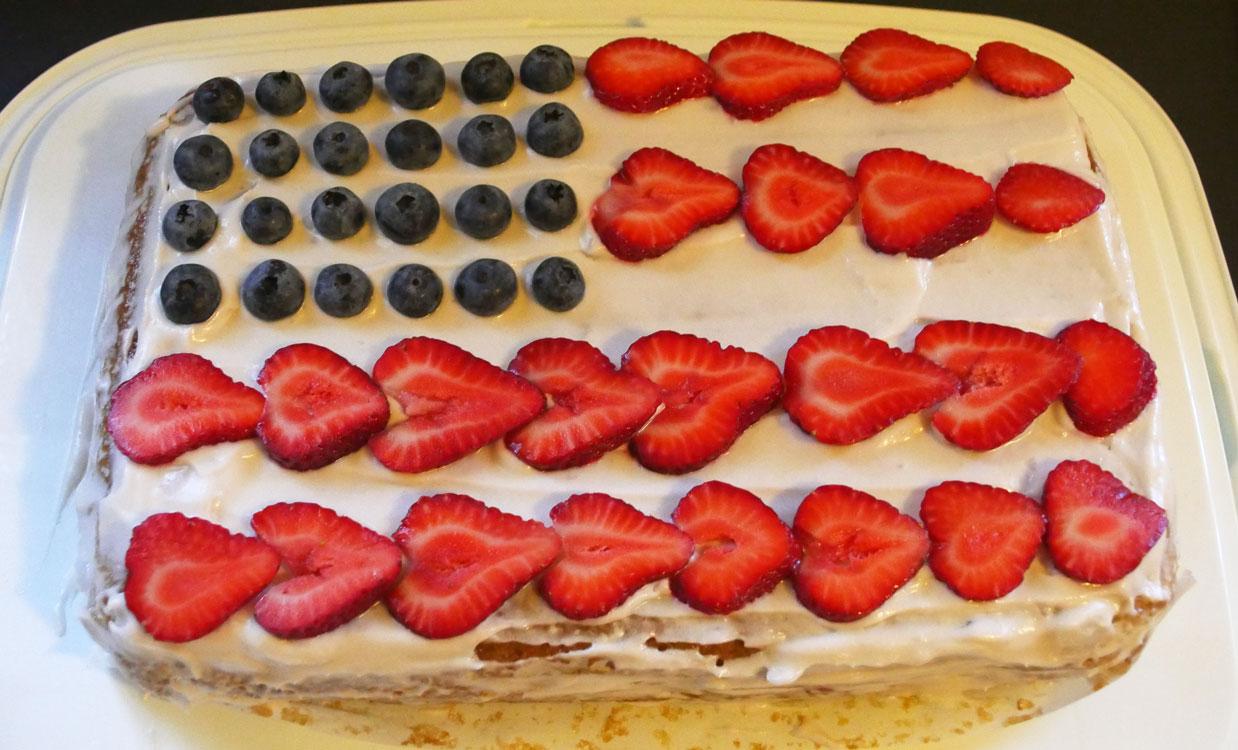 vegan American flag cake
