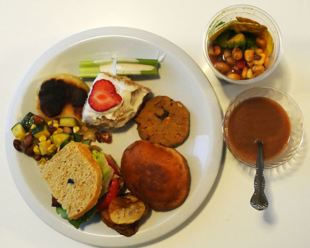 plate of vegan food July 2017