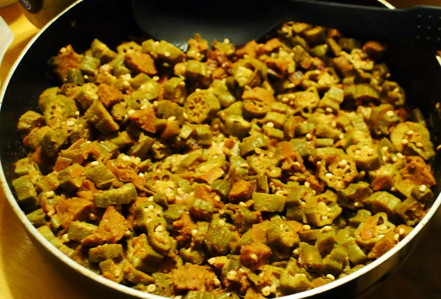 okra and veggie sausage