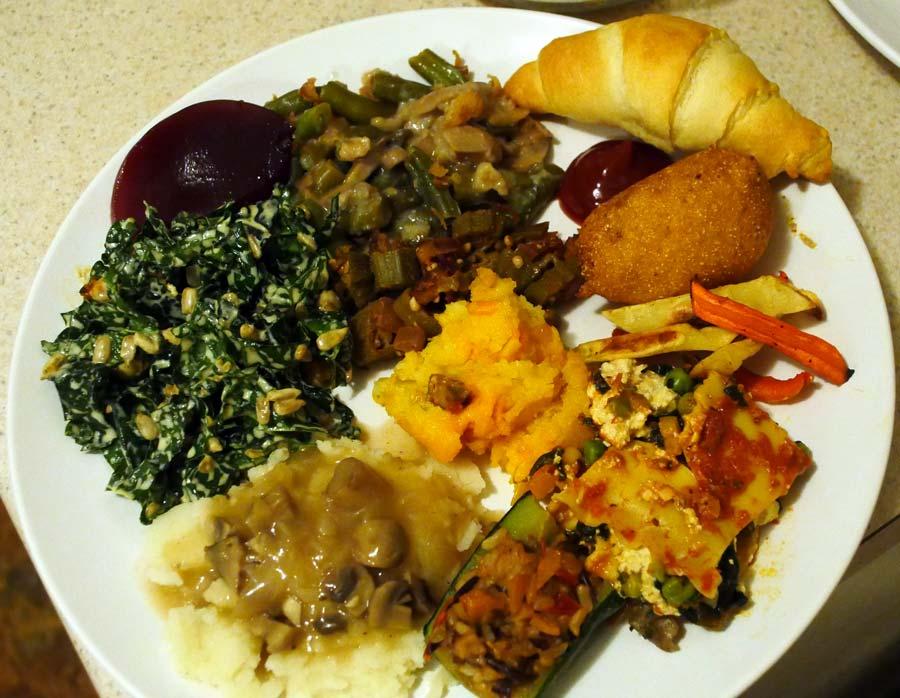 plate of vegan thanksgiving