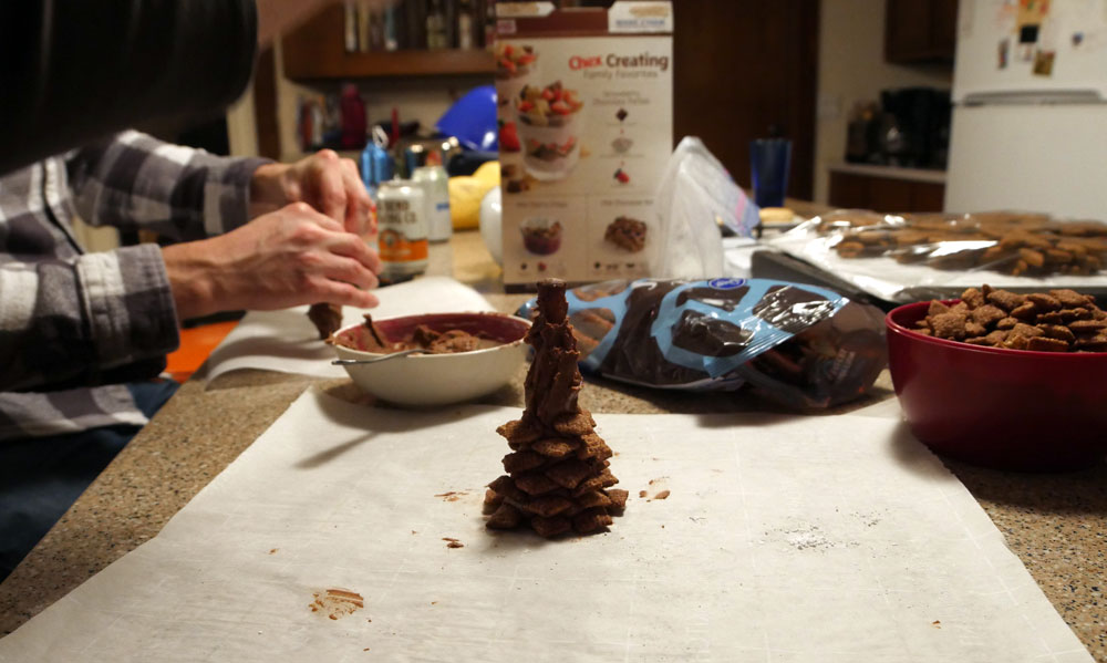 making chocolate pine cones