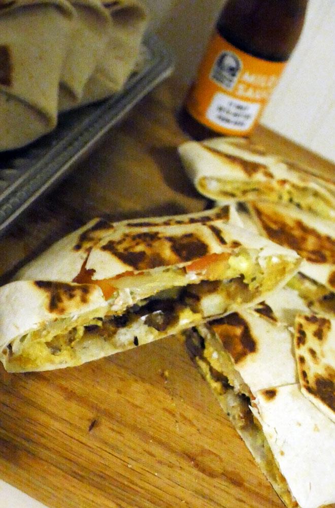 vegan crunch wrap layers