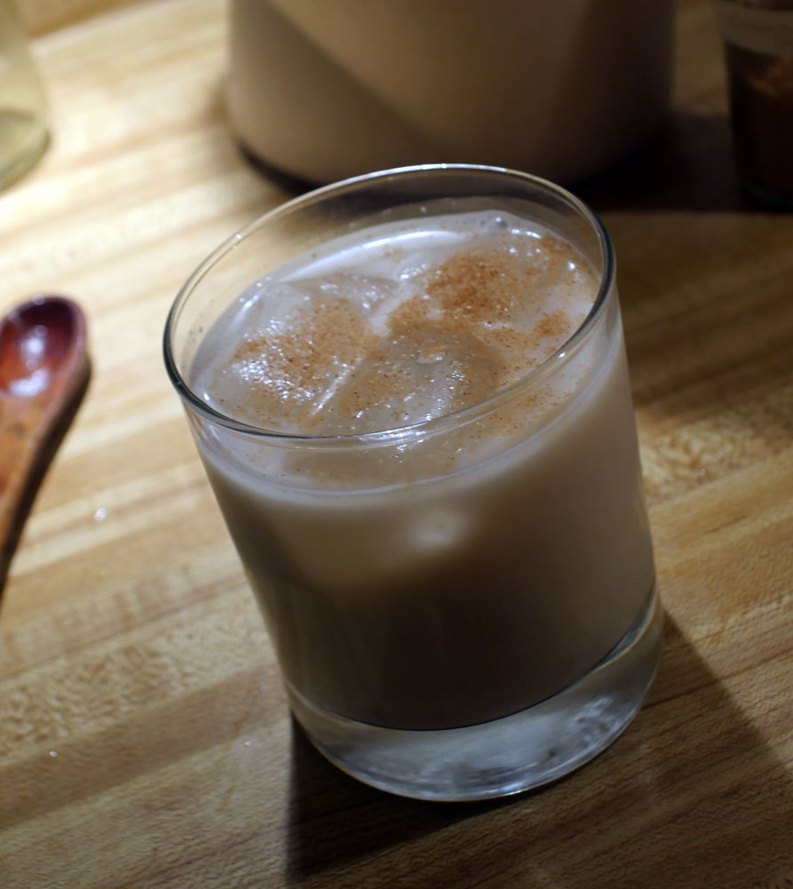 horchata sprinkled with cinnamon