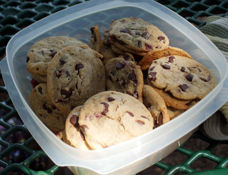 vegan cherry chocolate chip cookies