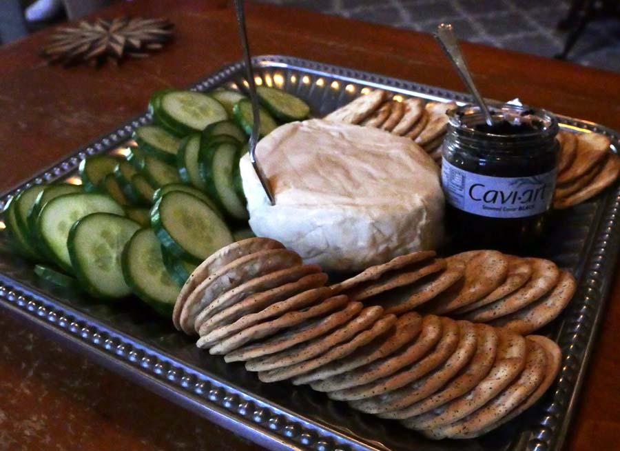 vegan brie and caviar platter