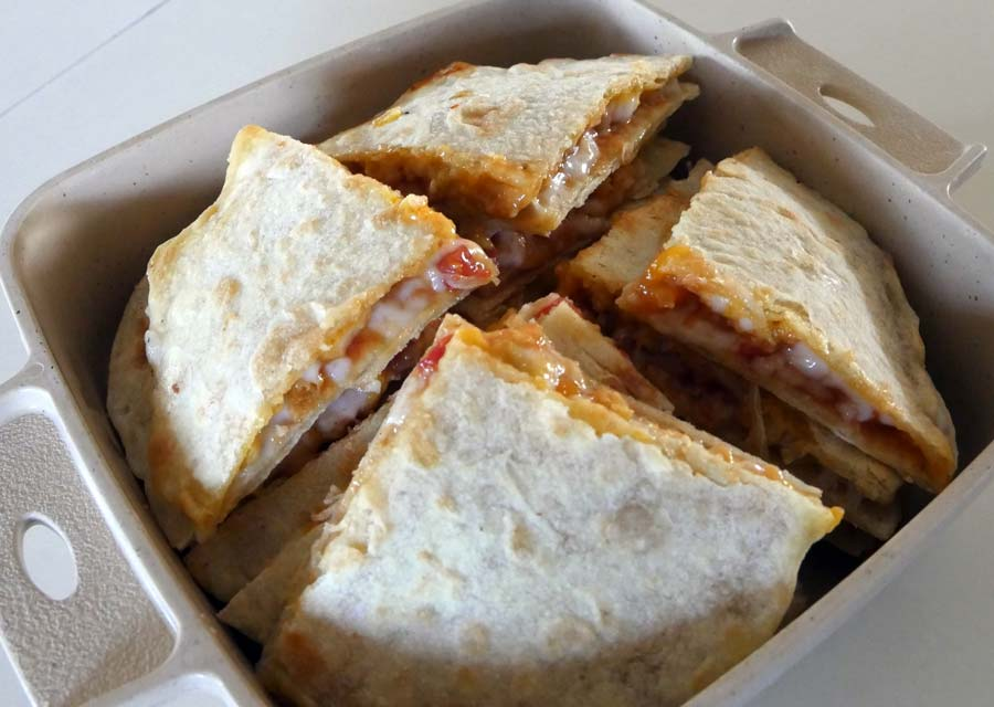 vegan chik'n quesadillas