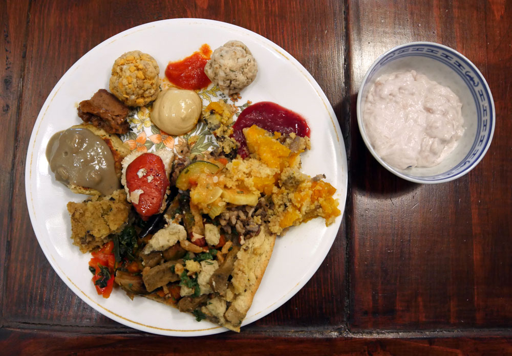 vegan Thanksgiving plate of food