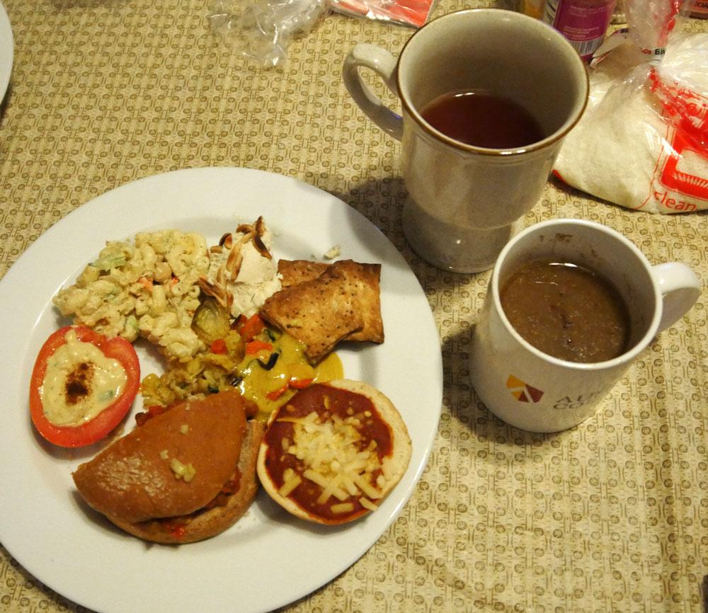 plate of vegan food and drinks