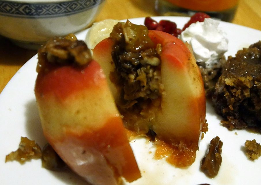 stuffed apple and sticky toffee pudding