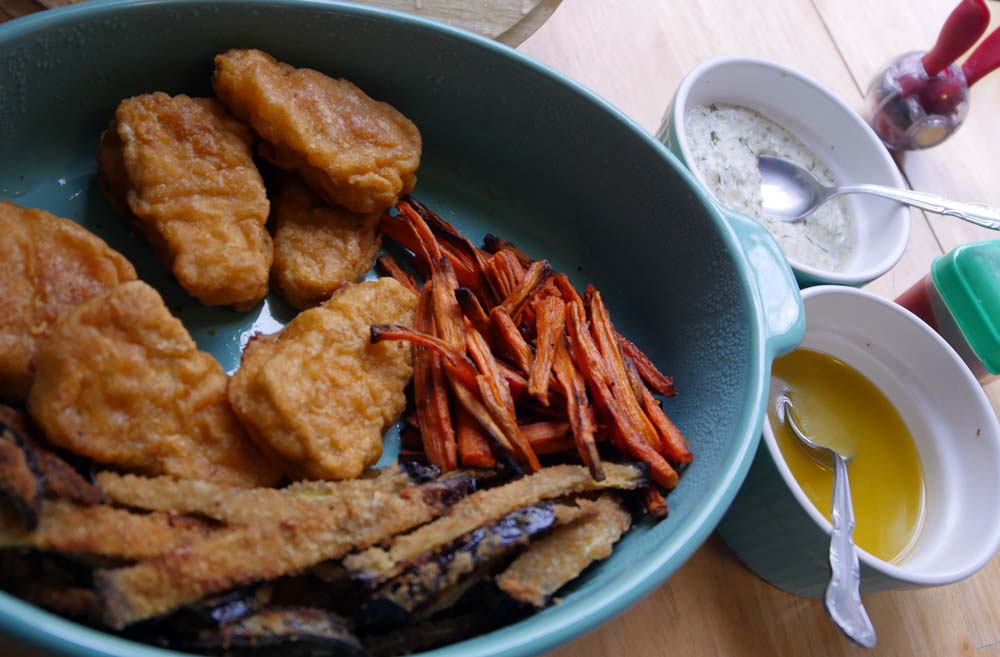 Gardein Fishless Filets and veg