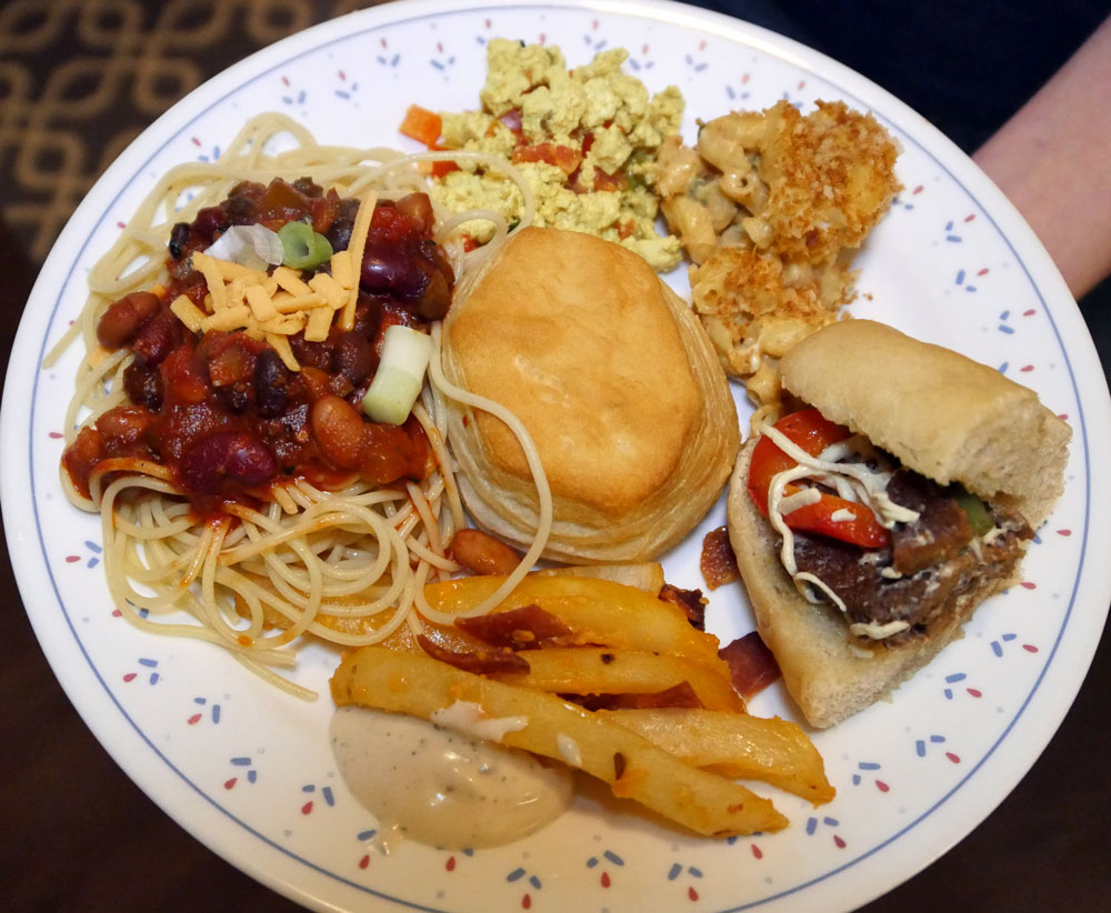 plate of vegan diner foods