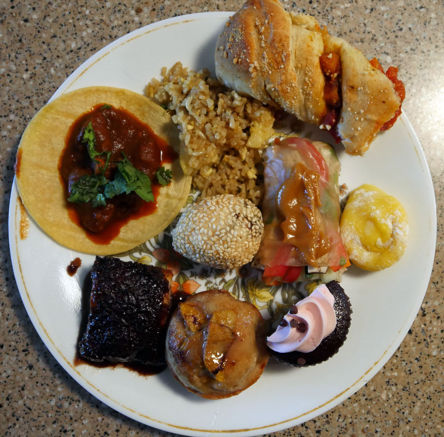 plate of vegan foods with fillings