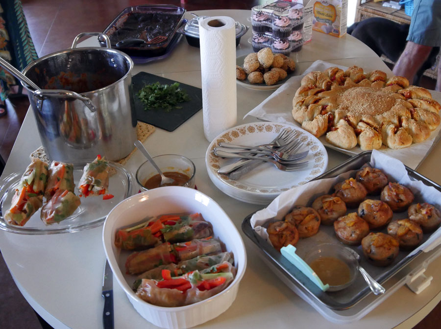 table of vegan foods with fillings