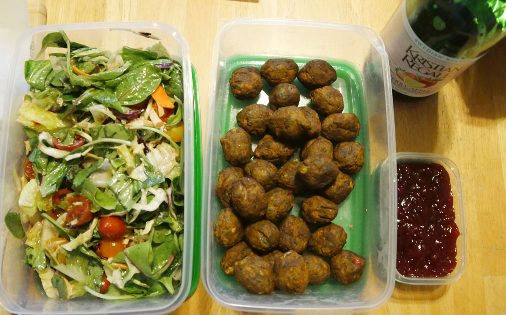 IKEA Veggie Balls and salad with lingonberry vinaigrette