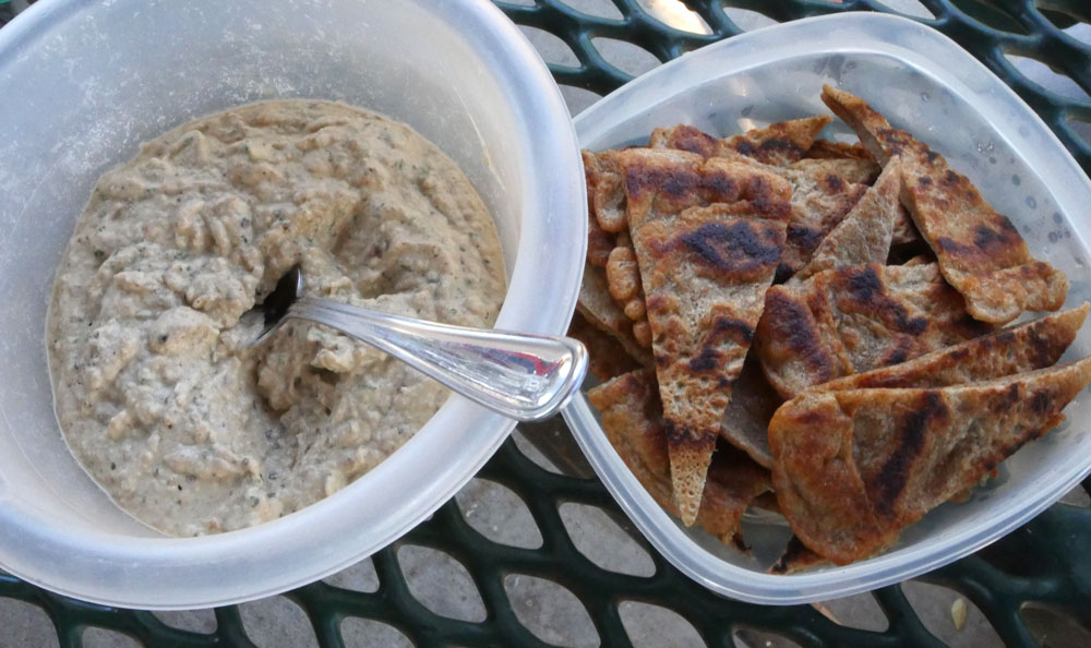baba ghanoush and bread